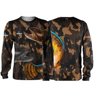 19d7a04fb Camiseta Pesca Quisty Traíra Camuflada Proteção UV Dryfit Adulto