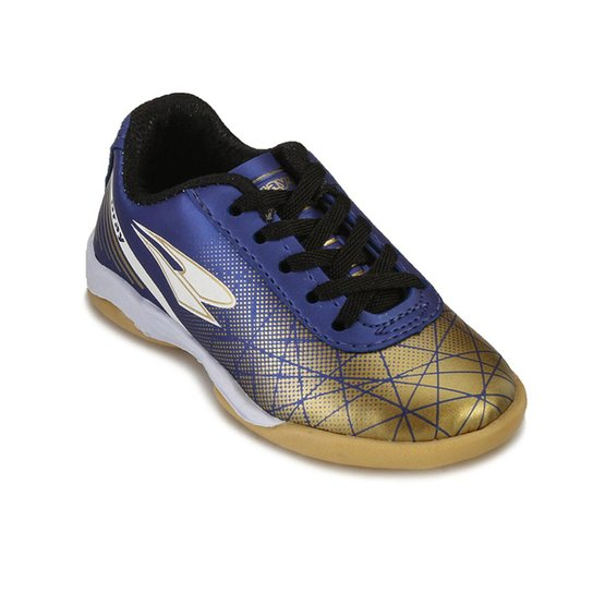 a6f9e47711 Chuteira Futsal Infantil Drayzinho Masculino - Marinho+Dourado