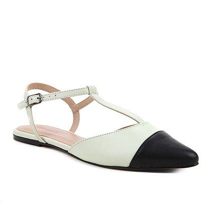 Sapatilha Couro Shoestock Salomé Bicolor Feminina