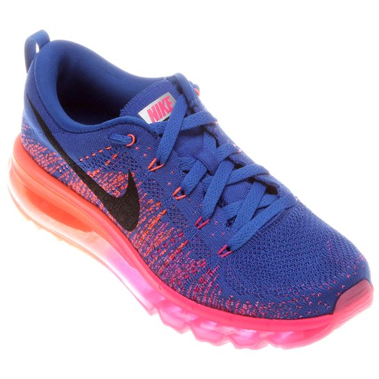 ef090eb26 Tênis Nike Flyknit Air Max - Azul+Rosa