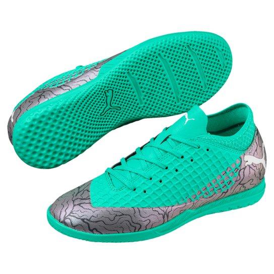 3d5c71b7e0 Chuteira Futsal Infantil Puma Future 2.4 IT - Cinza+Verde Água