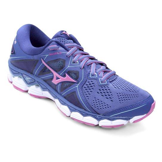 Tênis Mizuno Wave Sky 2 Feminino - Azul e Rosa - Compre Agora  944d0698a015a