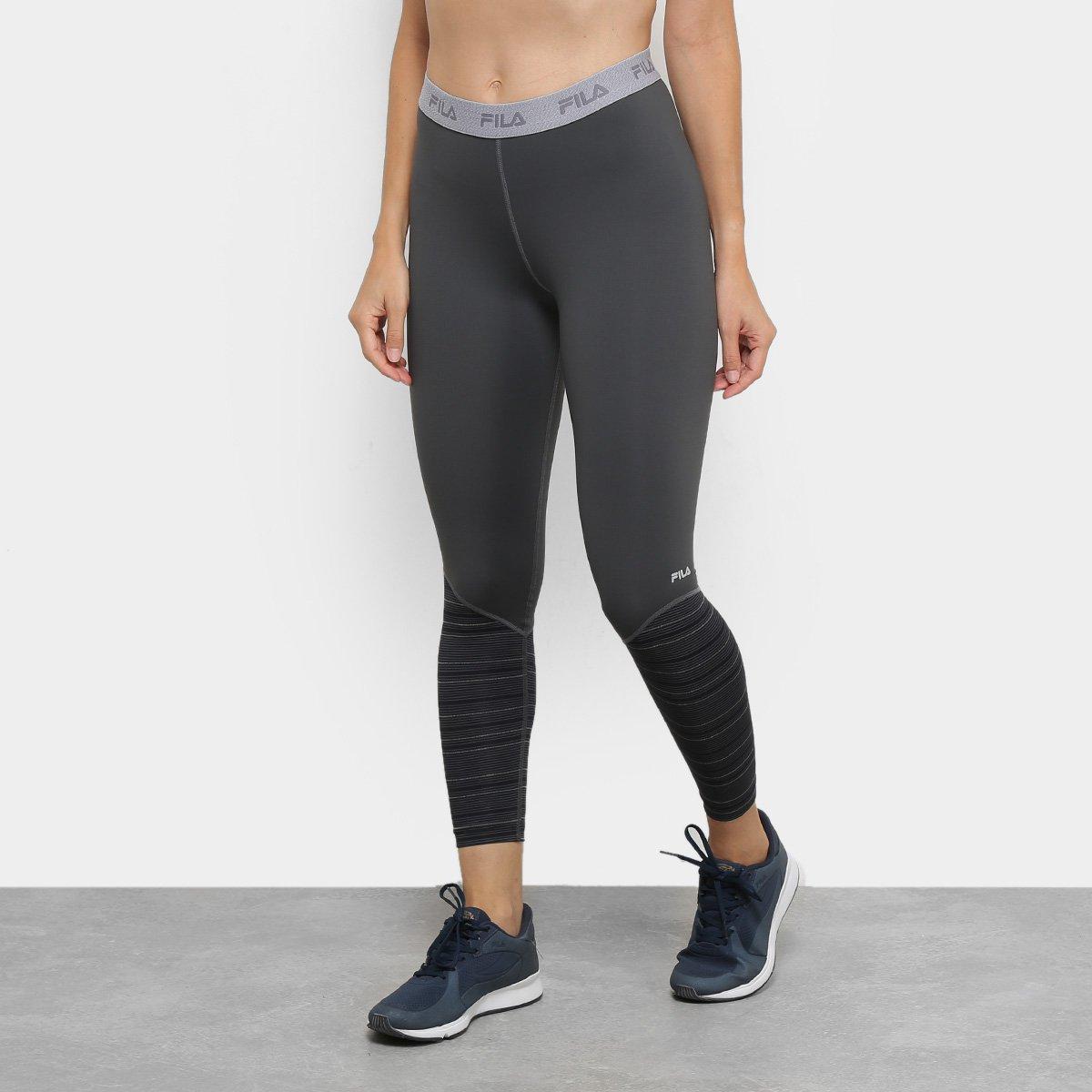 Calça Legging Fila Compressão Fit Stripes Feminina