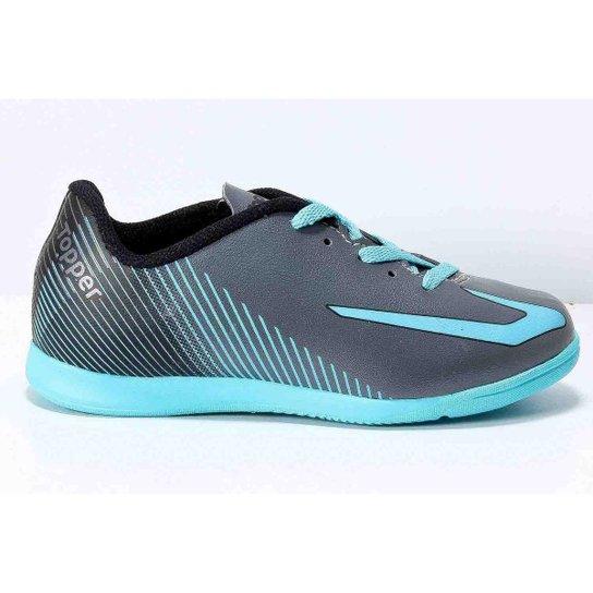 7e95275905000 Chuteira Topper Ultra Indoor Futsal Infantil - Chumbo e Azul Claro ...