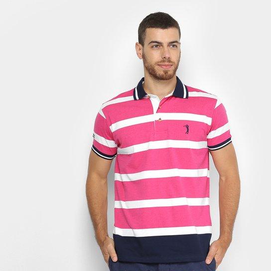 Camisa Polo Aleatory Fio Tinto Listrada Masculina - Azul e Rosa ... f82d85bd2cd1d