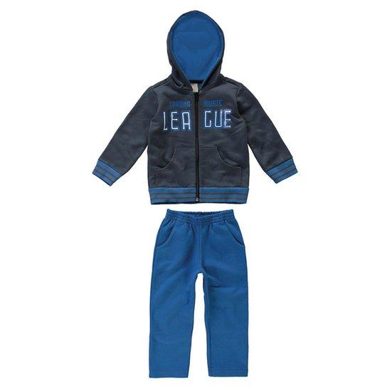 78a44c762b Conjunto Moletom Infantil League Carinhoso Masculino - Azul e Chumbo ...