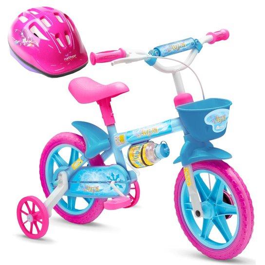 df74c1ef4 Bicicleta Infantil De 3 A 5 Anos Aro 12 Aqua + Capacete - Azul+Rosa