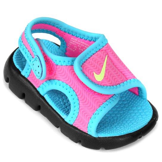 6848f2e7642 Sandália Nike Sunray Adjust 4 Infantil - Azul Turquesa e Pink ...