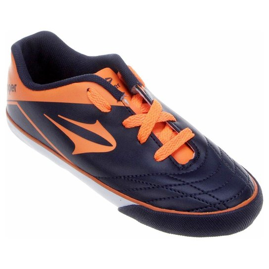 Chuteira Topper Frontier 7 Futsal Infantil - Azul e Laranja - Compre ... f4e7fc5eaed91