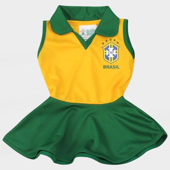 Vestido Seleção Brasil Infantil - Compre Agora  ddb3d47ffdb38