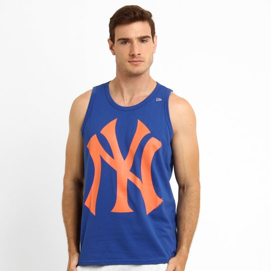 Camiseta Regata New Era MLB New York Yankees - Azul e Laranja ... 5b0f3323770