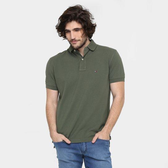 1a718eebed Camisa Polo Tommy Hilfiger Piquet Regular Fit Masculina - Verde Militar