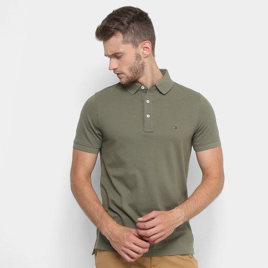 Camisa Polo Tommy Hilfiger Piquet Básica Slim Masculina - Verde Militar 5f9e7003da424