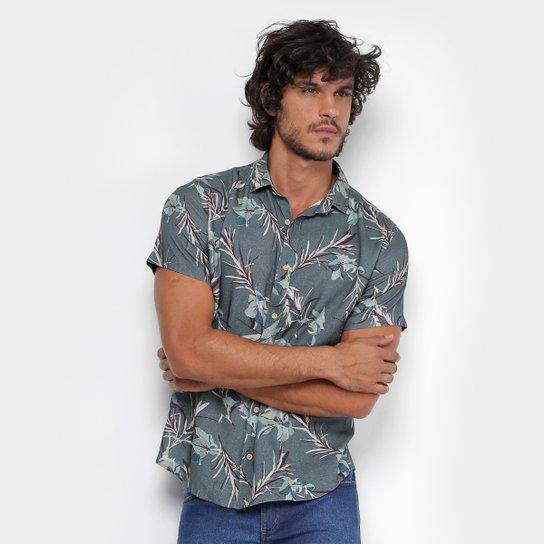1db81221e Camisa Reserva Estampada Floral Manga Curta Masculina - Verde Militar