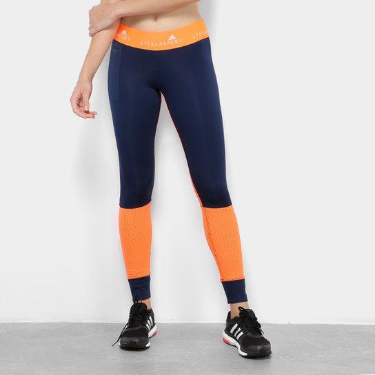 Calça Legging Adidas Blocked Feminina - Azul e Laranja - Compre ... 7c9636072bdc5