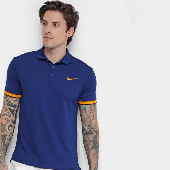 Camiseta Polo Nike Team Masculina - Azul e Laranja - Compre Agora ... 8613d345803d0