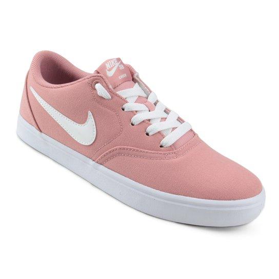 Tênis Nike Wmns Sb Check Solar Cnvs Feminino - Rosa - Compre Agora ... e8afd8aa460bc