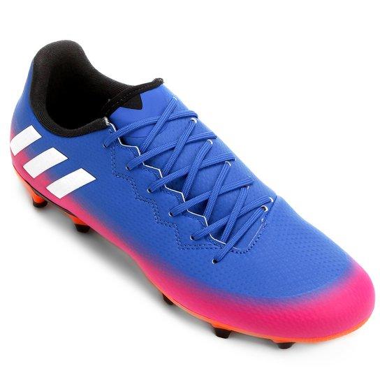 4ca2266530 Chuteira Campo Adidas Messi 16.3 FG - Azul e Laranja - Compre Agora ...