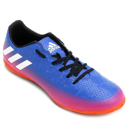 db1c64d18552a Chuteira Futsal Adidas Messi 16.4 IN Masculina - Azul e Pink | Netshoes