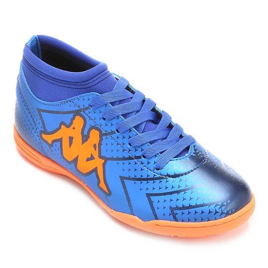 2490ddbc8e Chuteira Futsal Infantil Kappa Údine - Azul+Laranja