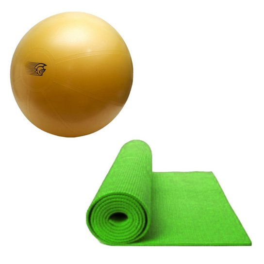 c7176caf7 Kit Bola Fit Ball Training 75Cm Pretorian Com Bomba De Ar + Tapete De Yoga  Verde