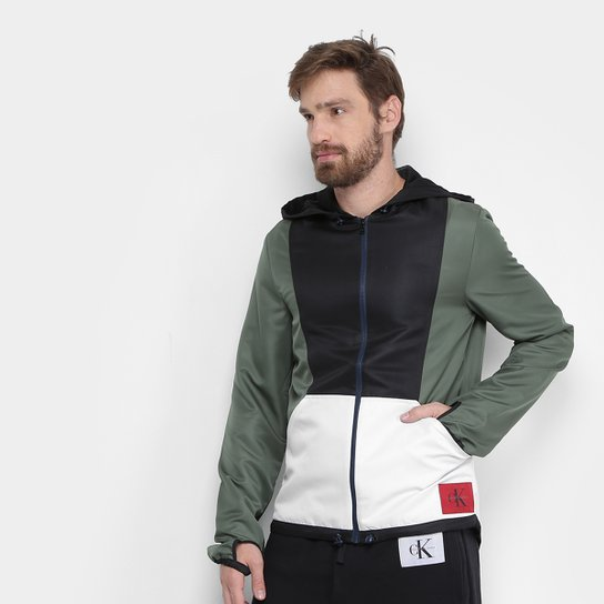 f41b2be1e Jaqueta Calvin Klein Recorte Masculina - Verde Militar