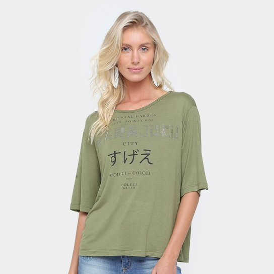 e98748133 Camiseta Colcci Japão Feminina - Verde Militar