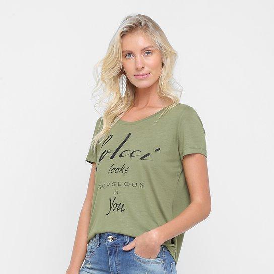 a4417b391 Camiseta Colcci Estampada Feminina - Verde Militar