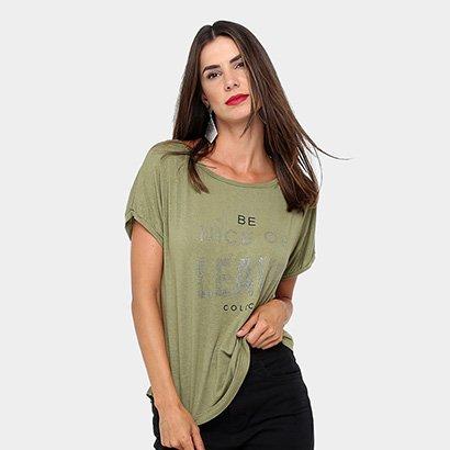 Camiseta Colcci Silk Strass Gola Canoa Feminina