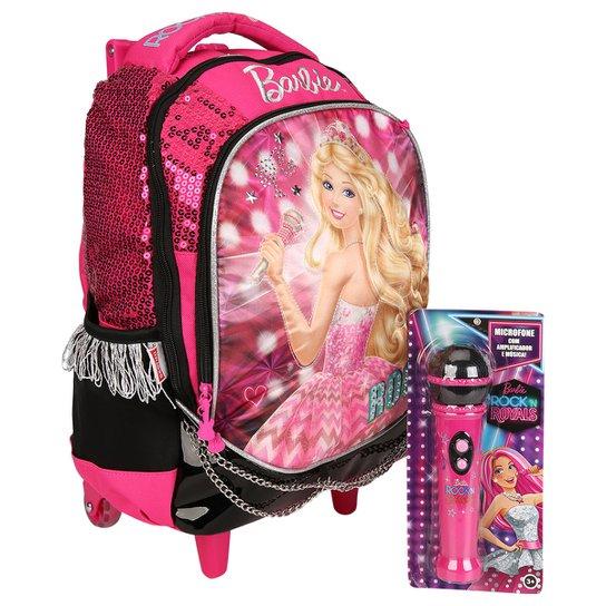 db2fe303f Mochila de Rodinhas Sestini Barbie Rock'n Royals - Pink+Preto