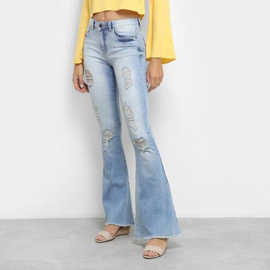 92bb2b8a2 Calça Jeans Flare Handbook Tabita Cintura Alta Feminina - Azul Claro ...