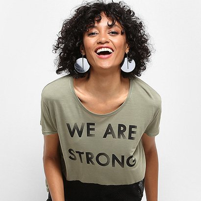 Camiseta Drezzup Estampada Com Tela Feminina