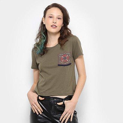 Camiseta Drezzup Bolso Estampado Feminina