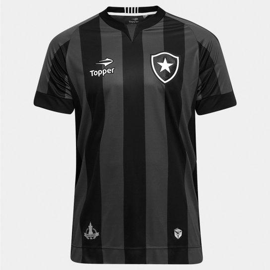 Camisa Botafogo II 2016 s nº Torcedor Topper Masculina - Preto+Chumbo 1646e233d3c95
