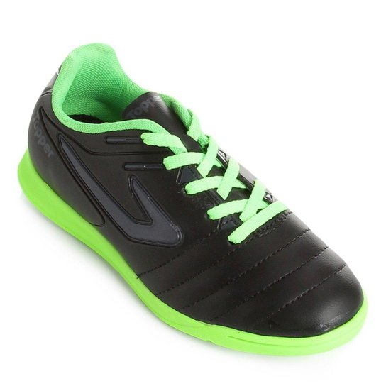Chuteira Futsal Infantil Topper Boleiro - Preto e Chumbo - Compre ... b3b09e12a998e