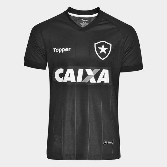 Camisa Botafogo II 2018 s n° Torcedor Topper Masculina - Preto+Chumbo 716ac2ea3d357
