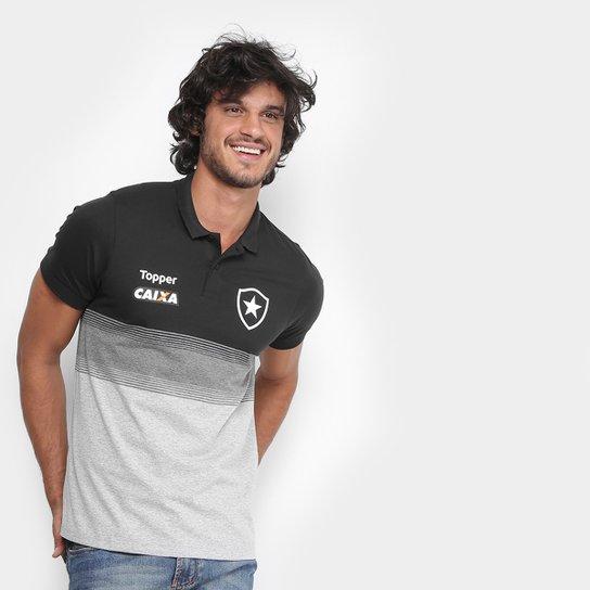 Camisa Polo Botafogo Viagem Topper Masculina - Preto e Chumbo ... de1918492532c