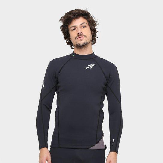 Camisa Surf Mormaii Neoprene Snap 1.0 mm Masculina - Preto e Chumbo ... e64a9c98a8