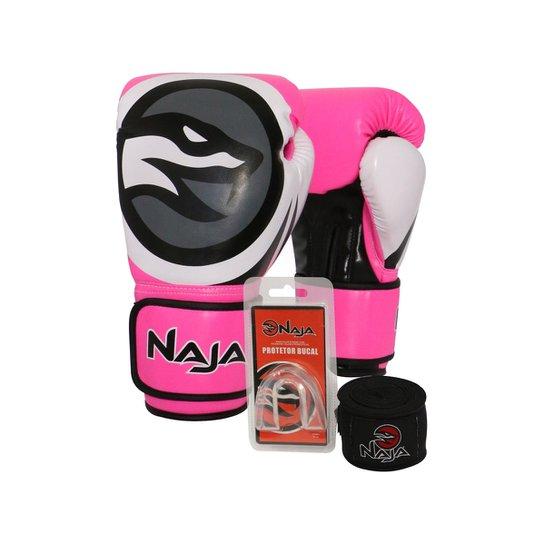425092beb Kit Boxe Muay Thai Naja - Par de Luva Colors Flúor + Bandagem+Protetor Bucal