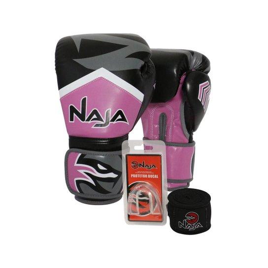75b5bd603 Kit Boxe Muay Thai - Luva New Extreme + Banda - Rosa e Preto ...