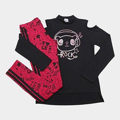 Conjunto Infantil Pulla Bulla Longo Rock Star Feminino