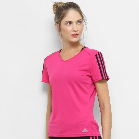 c948d1fdd8 Camiseta Adidas Run 3 Stripe Feminina - Rosa e Preto