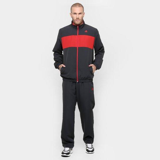 3d3501f2b7 Agasalho Adidas WV 1 Masculino - Chumbo+Vermelho