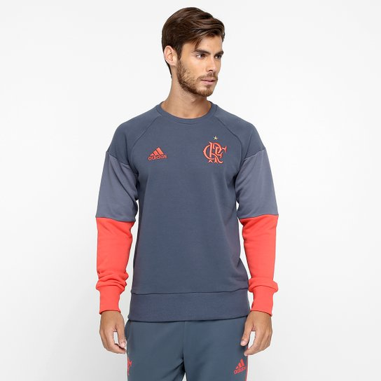 1fb29151555 Moletom Flamengo Adidas Treino Masculino - Chumbo+Vermelho