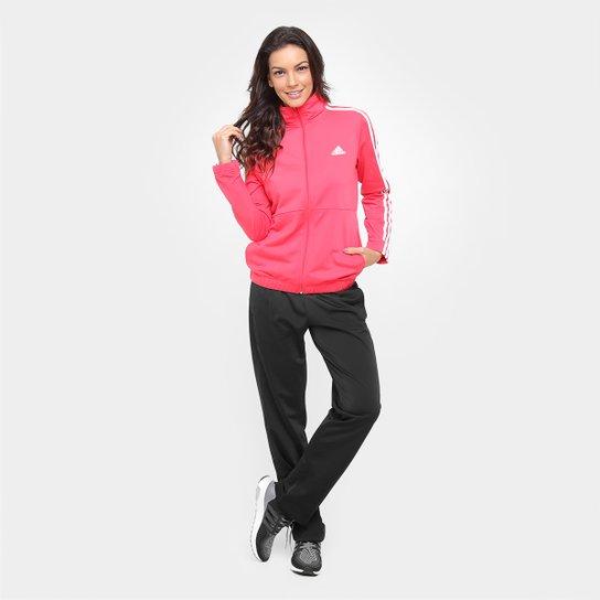 00f3e0801e6 Agasalho Adidas Back 2 Basic 3S Feminino - Vermelho Claro e Preto ...