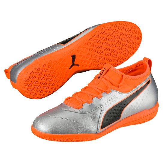 4f7df90b1593a Chuteira Futsal Puma One 3 Lth IT BDP - Prata e Laranja | Netshoes