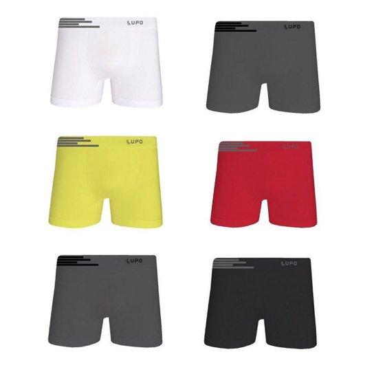 64914aa80 Kit Cueca Lupo Boxer Microfibra sem Costura 6 Peças Multicor Masculina -  Chumbo+Vermelho