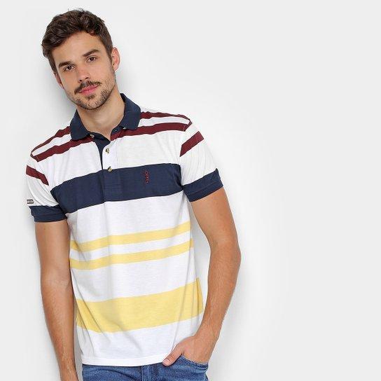cfdc51b0d Camisa Polo Aleatory Listrada Bordada Masculina - Marinho e Amarelo ...