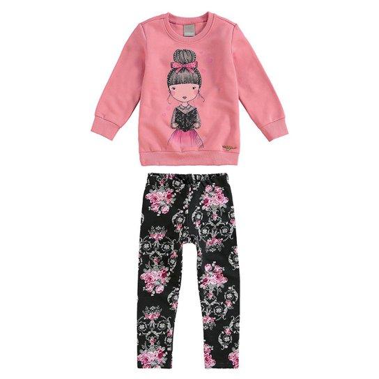 Conjunto Moletom Infantil Garota Carinhoso Feminino - Rosa e Preto ... 785abb243a6