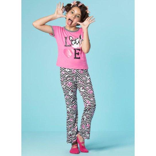 170e721b17bf30 Pijama Infantil Puket Manga Curta Glitter Visco Feminina - Rosa e Preto